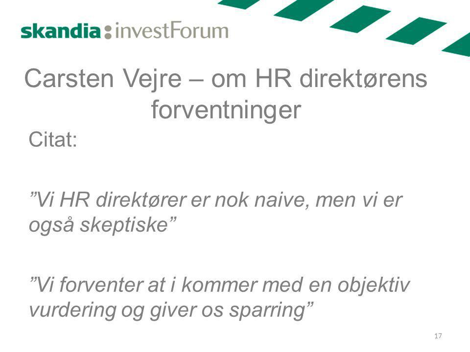Carsten Vejre – om HR direktørens forventninger