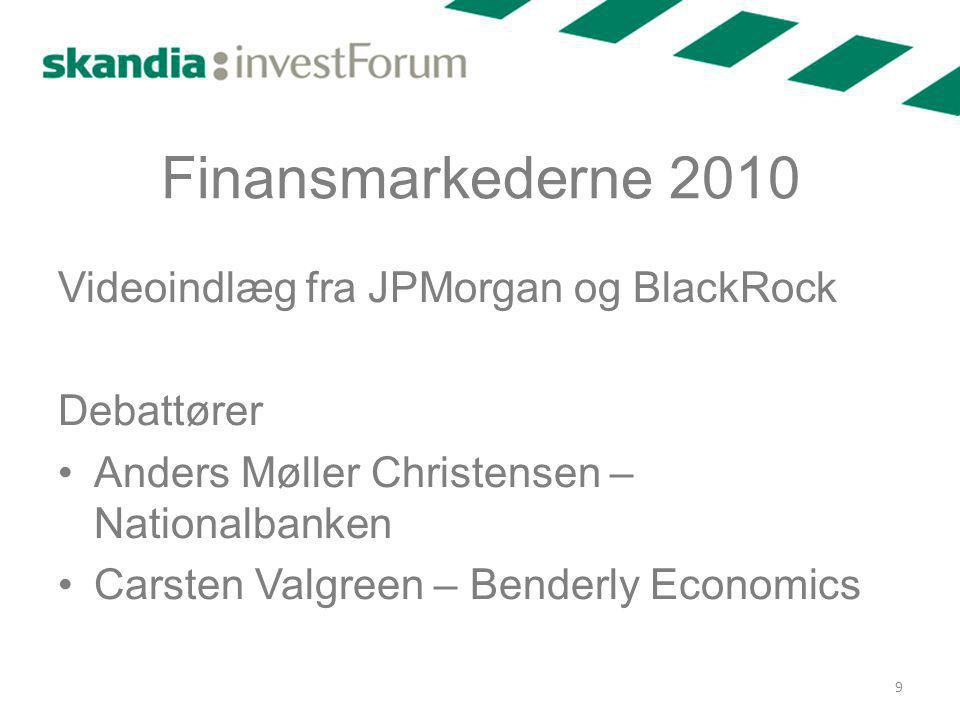 Finansmarkederne 2010 Videoindlæg fra JPMorgan og BlackRock Debattører