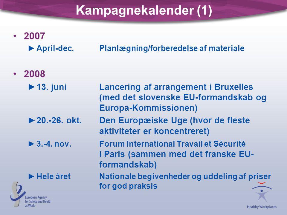 Kampagnekalender (1) 2007. April-dec. Planlægning/forberedelse af materiale. 2008.