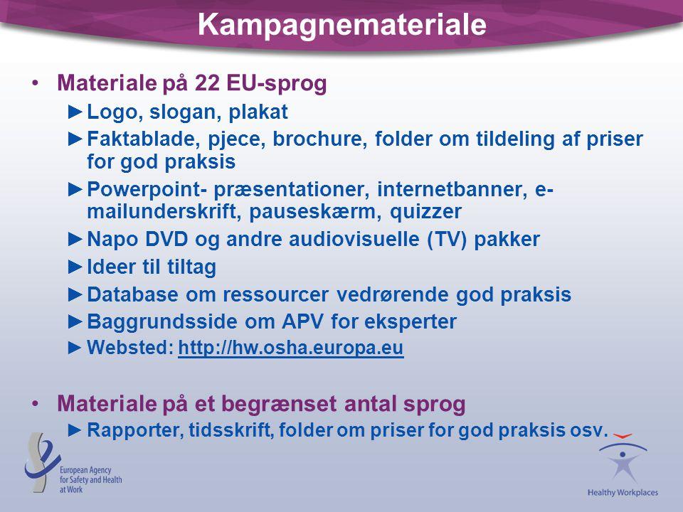 Kampagnemateriale Materiale på 22 EU-sprog