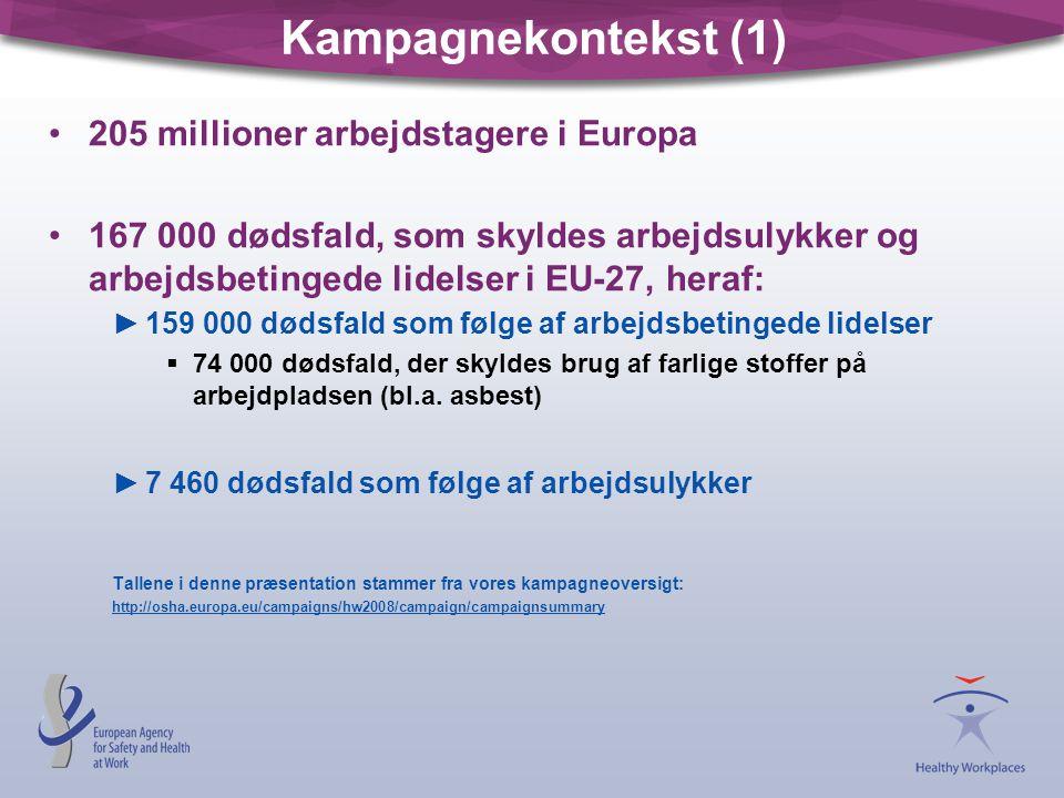 Kampagnekontekst (1) 205 millioner arbejdstagere i Europa