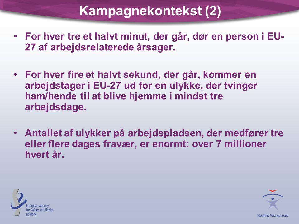 Kampagnekontekst (2) For hver tre et halvt minut, der går, dør en person i EU-27 af arbejdsrelaterede årsager.