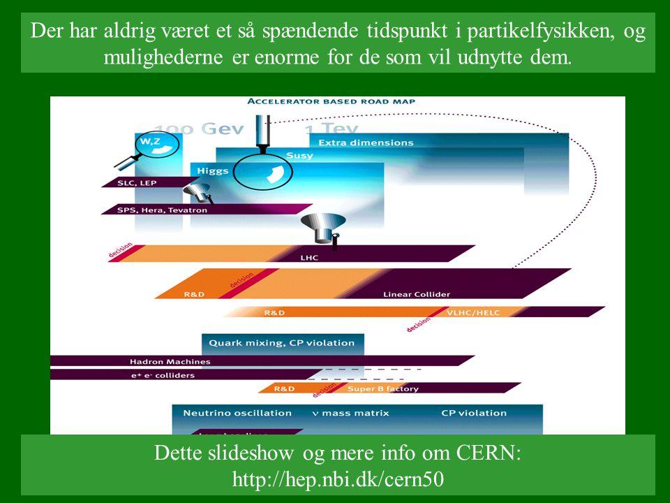 Dette slideshow og mere info om CERN: http://hep.nbi.dk/cern50