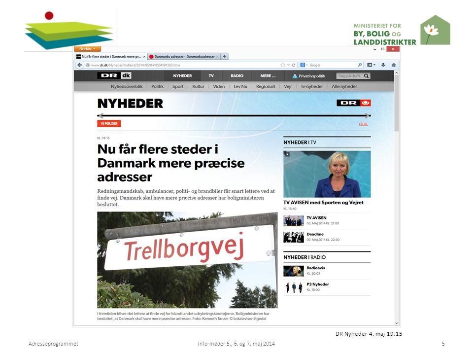 DR Nyheder 4. maj 19:15 Adresseprogrammet