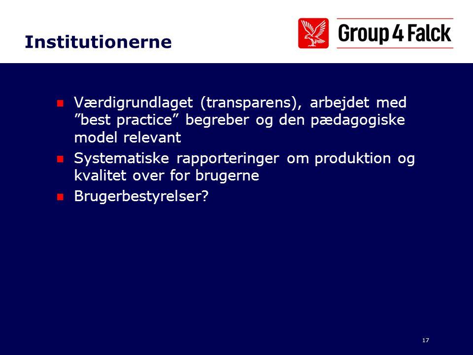 Institutionerne Værdigrundlaget (transparens), arbejdet med best practice begreber og den pædagogiske model relevant.