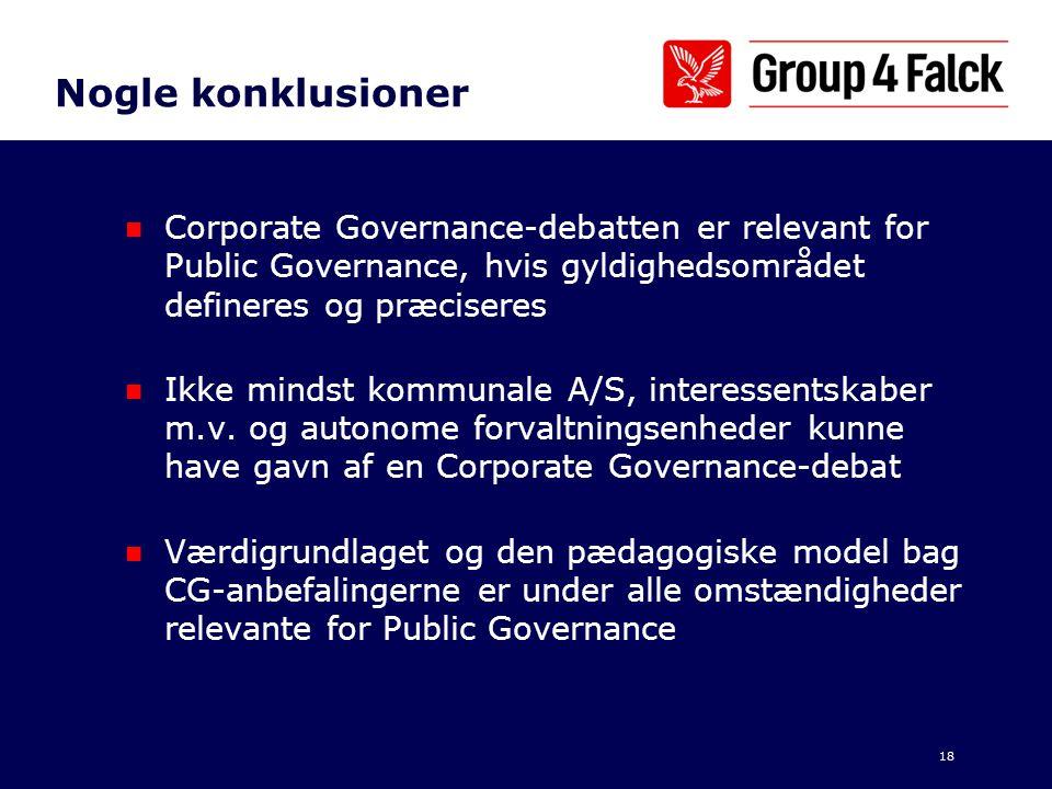 Nogle konklusioner Corporate Governance-debatten er relevant for Public Governance, hvis gyldighedsområdet defineres og præciseres.