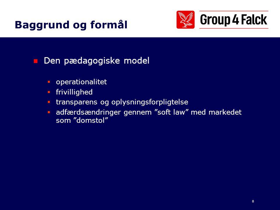 Baggrund og formål Den pædagogiske model operationalitet frivillighed