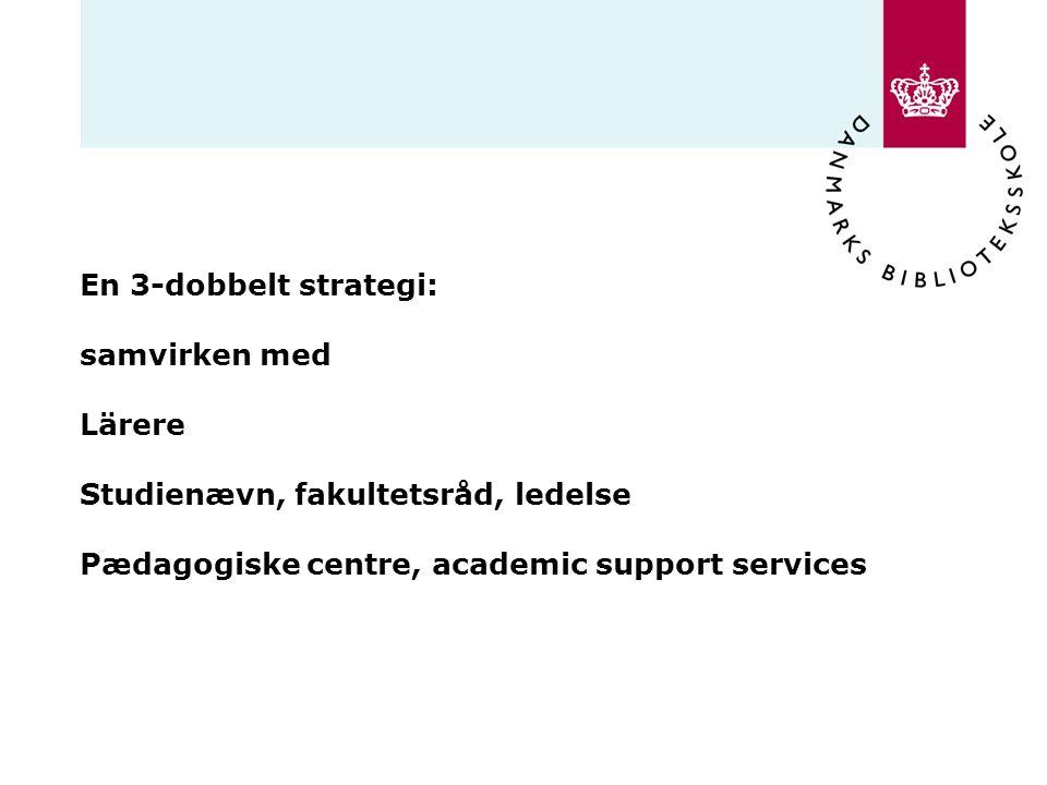 En 3-dobbelt strategi: samvirken med Lärere Studienævn, fakultetsråd, ledelse Pædagogiske centre, academic support services