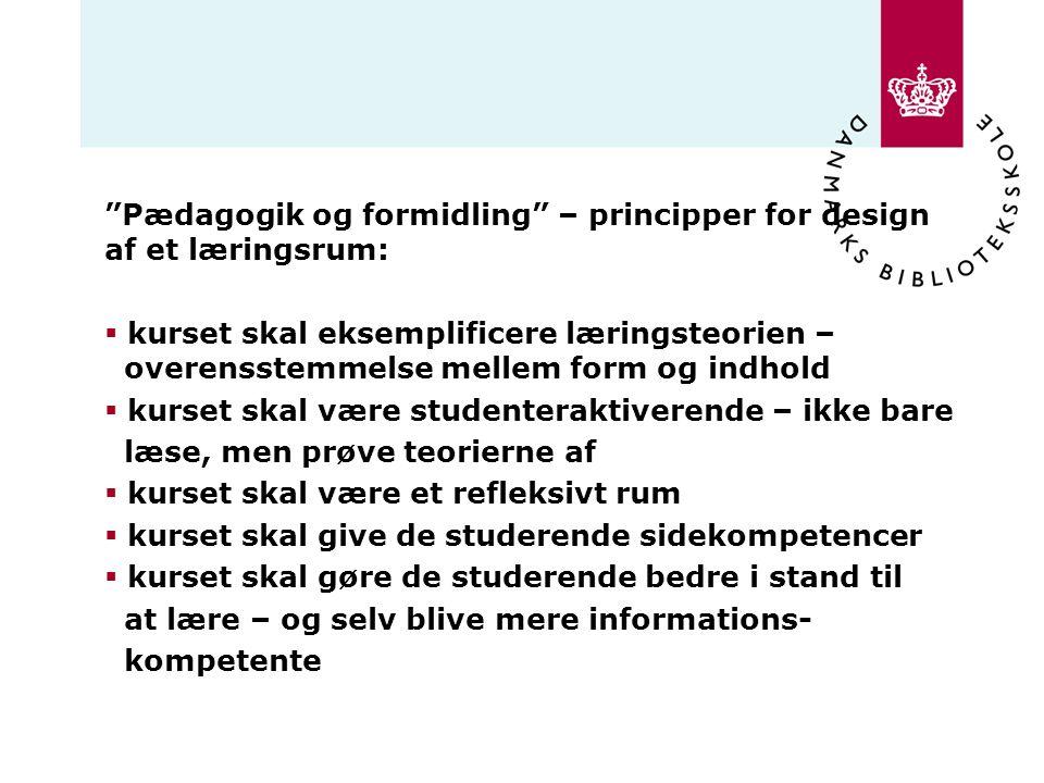 Pædagogik og formidling – principper for design af et læringsrum: