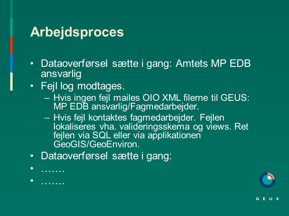 Arbejdsproces Dataoverførsel sætte i gang: Amtets MP EDB ansvarlig