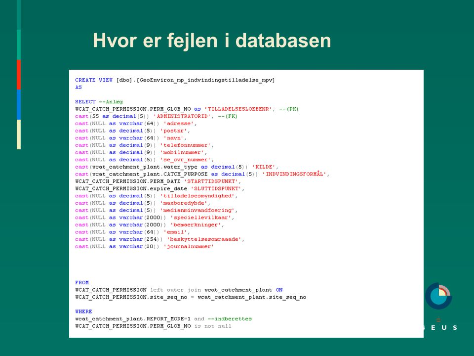 Hvor er fejlen i databasen