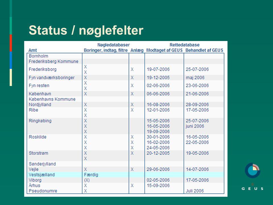 Status / nøglefelter