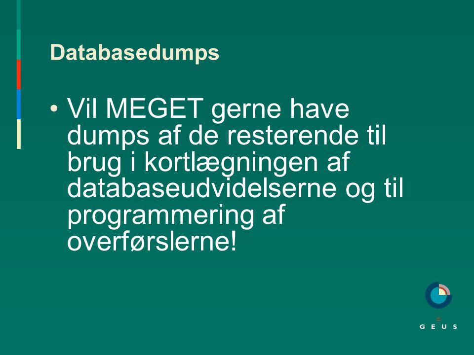 Databasedumps Vil MEGET gerne have dumps af de resterende til brug i kortlægningen af databaseudvidelserne og til programmering af overførslerne!