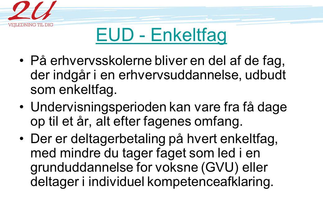 EUD - Enkeltfag På erhvervsskolerne bliver en del af de fag, der indgår i en erhvervsuddannelse, udbudt som enkeltfag.