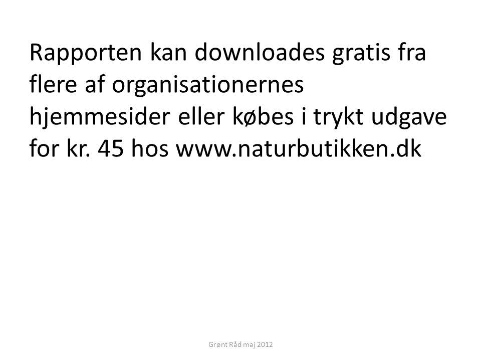 Rapporten kan downloades gratis fra flere af organisationernes hjemmesider eller købes i trykt udgave for kr. 45 hos www.naturbutikken.dk