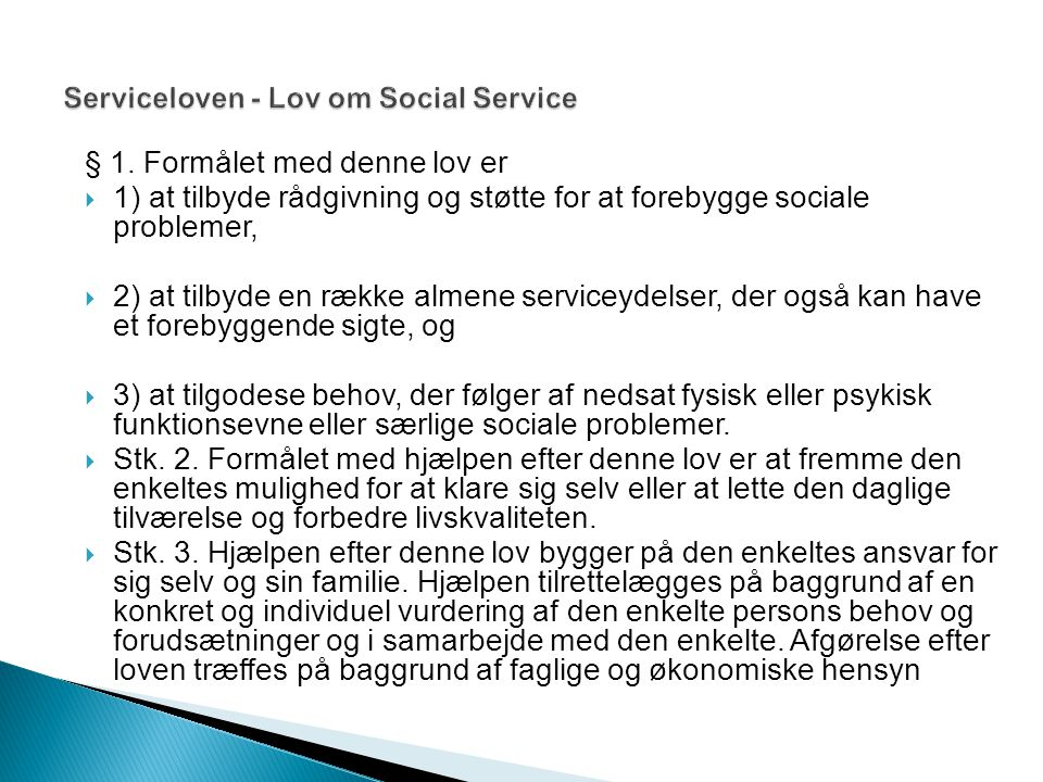 Serviceloven - Lov om Social Service