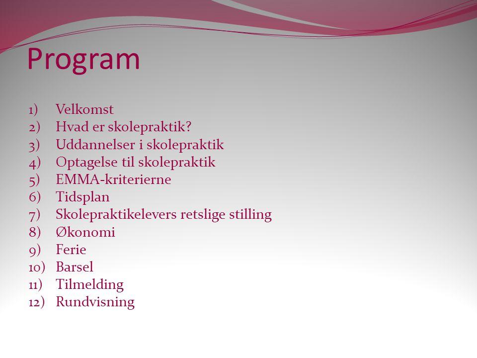 Program Velkomst Hvad er skolepraktik Uddannelser i skolepraktik