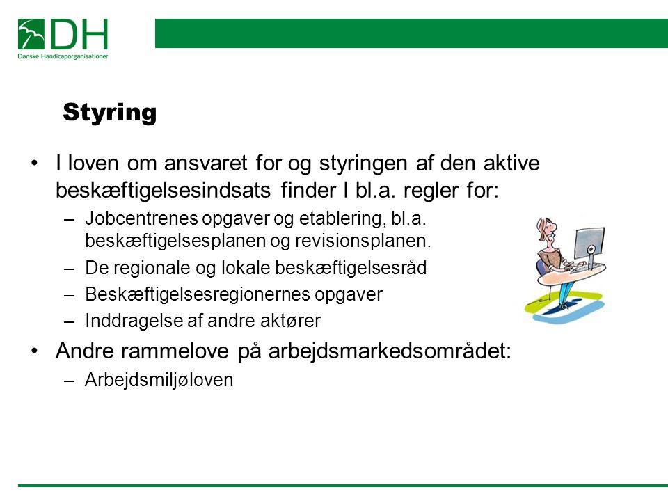 Styring I loven om ansvaret for og styringen af den aktive beskæftigelsesindsats finder I bl.a. regler for: