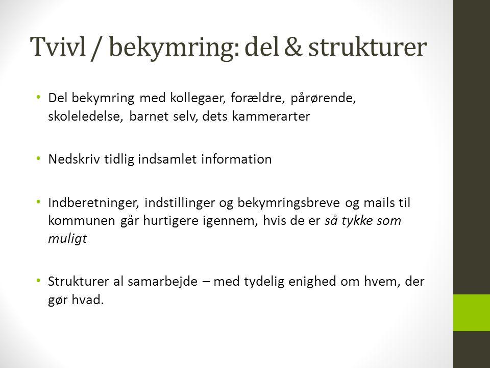 Tvivl / bekymring: del & strukturer