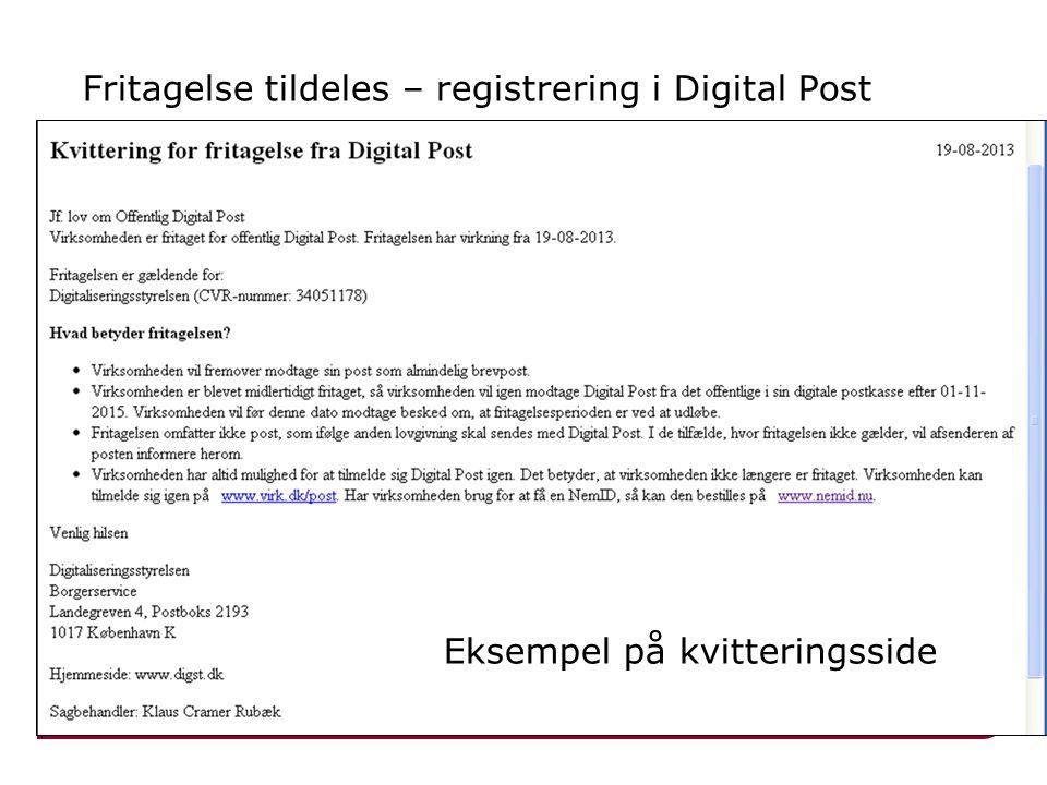 Fritagelse tildeles – registrering i Digital Post