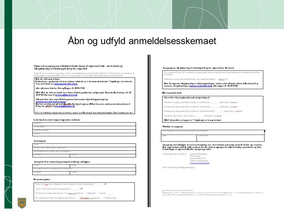 Åbn og udfyld anmeldelsesskemaet