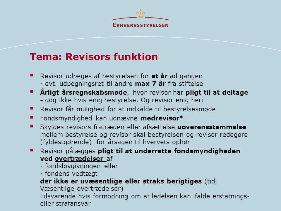 Tema: Revisors funktion