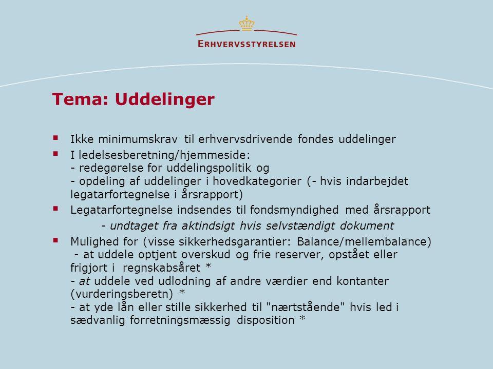 Tema: Uddelinger Ikke minimumskrav til erhvervsdrivende fondes uddelinger.