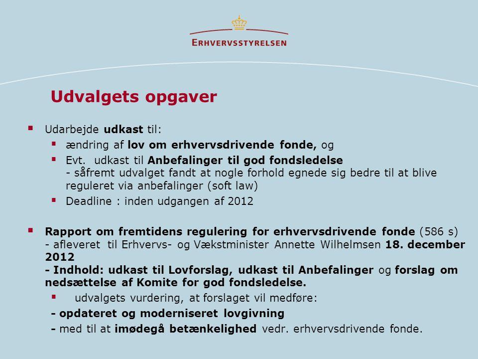 Udvalgets opgaver Udarbejde udkast til: