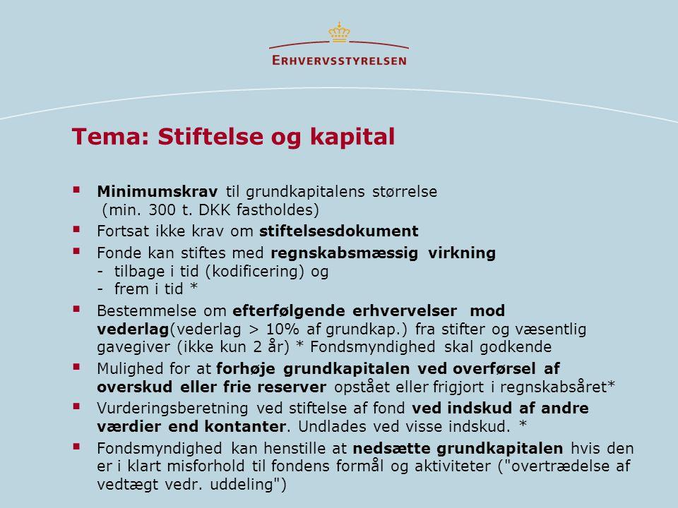 Tema: Stiftelse og kapital