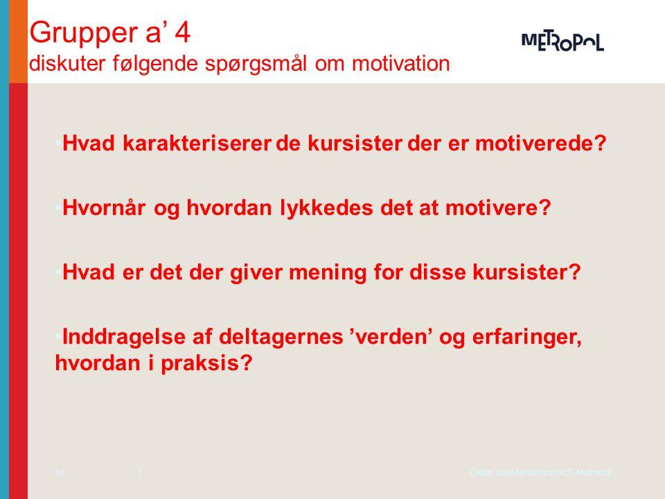 Grupper a' 4 diskuter følgende spørgsmål om motivation