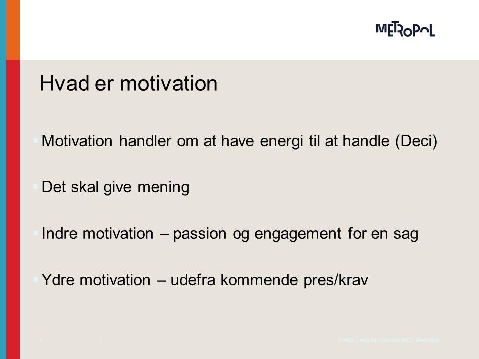 Hvad er motivation Motivation handler om at have energi til at handle (Deci) Det skal give mening.