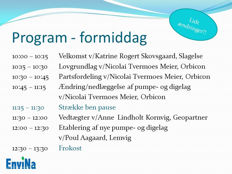 Lidt ændringer!! Program - formiddag.