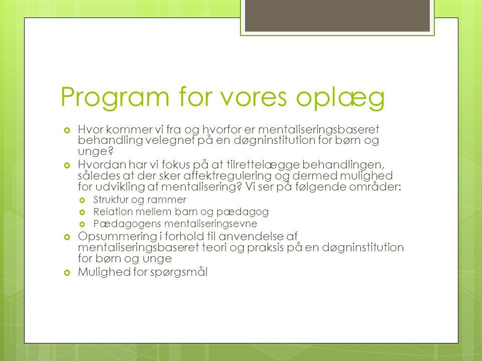 Program for vores oplæg
