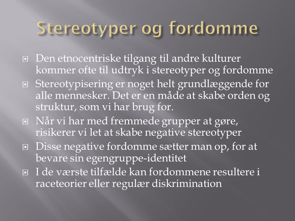 Stereotyper og fordomme