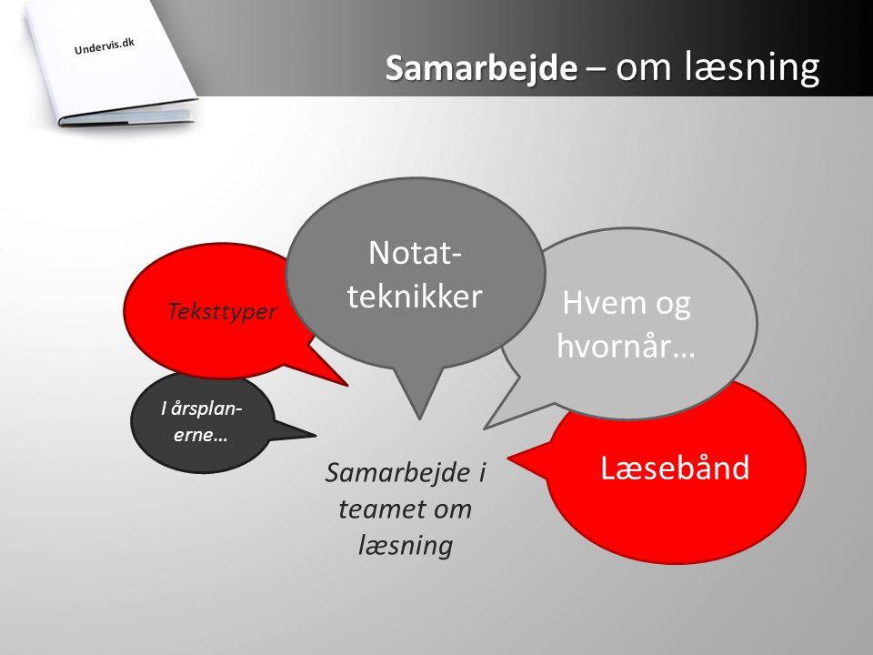 Samarbejde i teamet om læsning