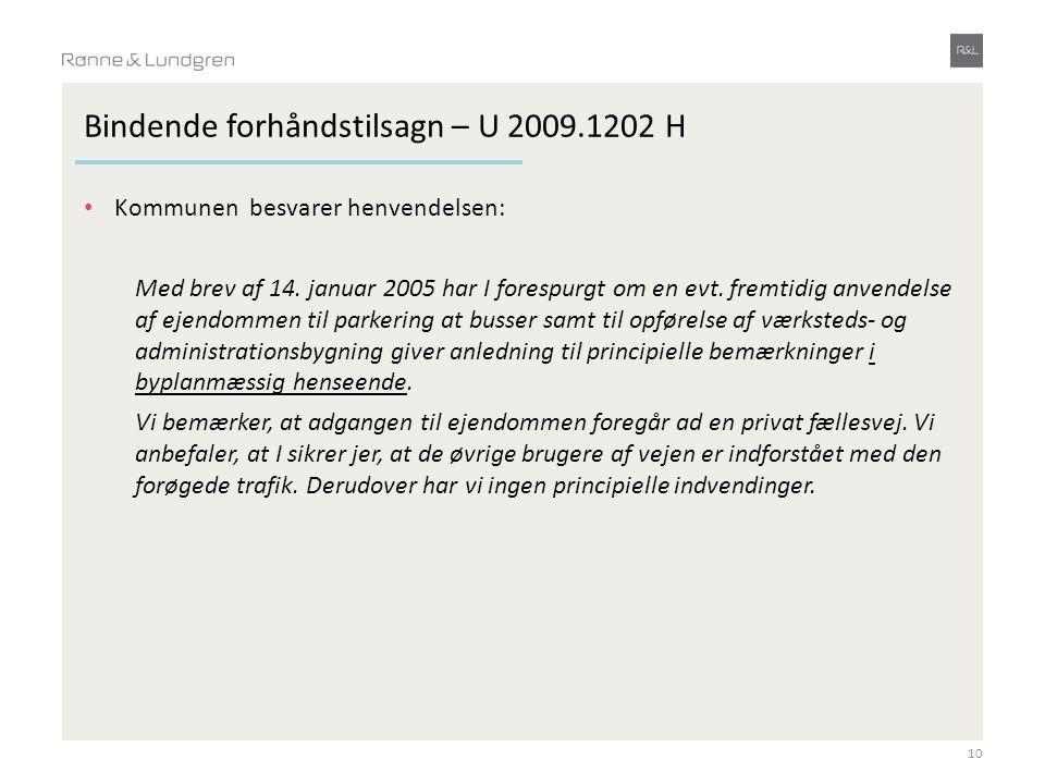 Bindende forhåndstilsagn – U 2009.1202 H