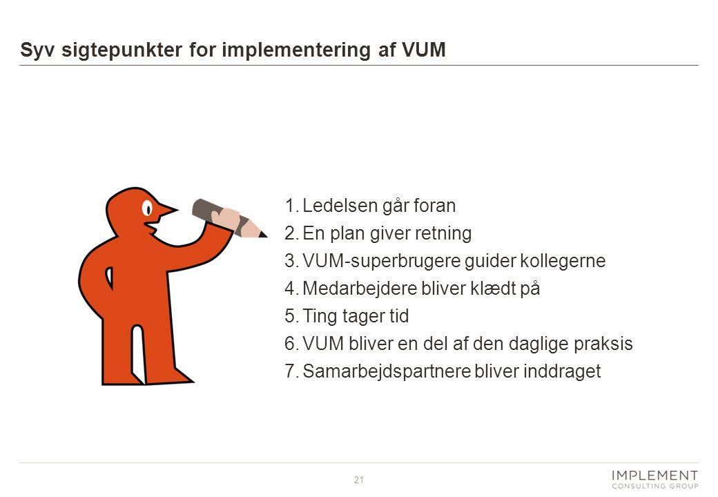 Syv sigtepunkter for implementering af VUM