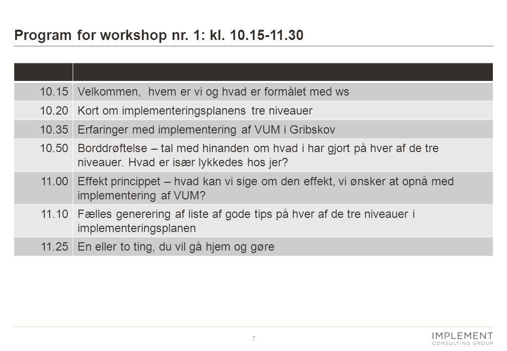 Program for workshop nr. 1: kl. 10.15-11.30