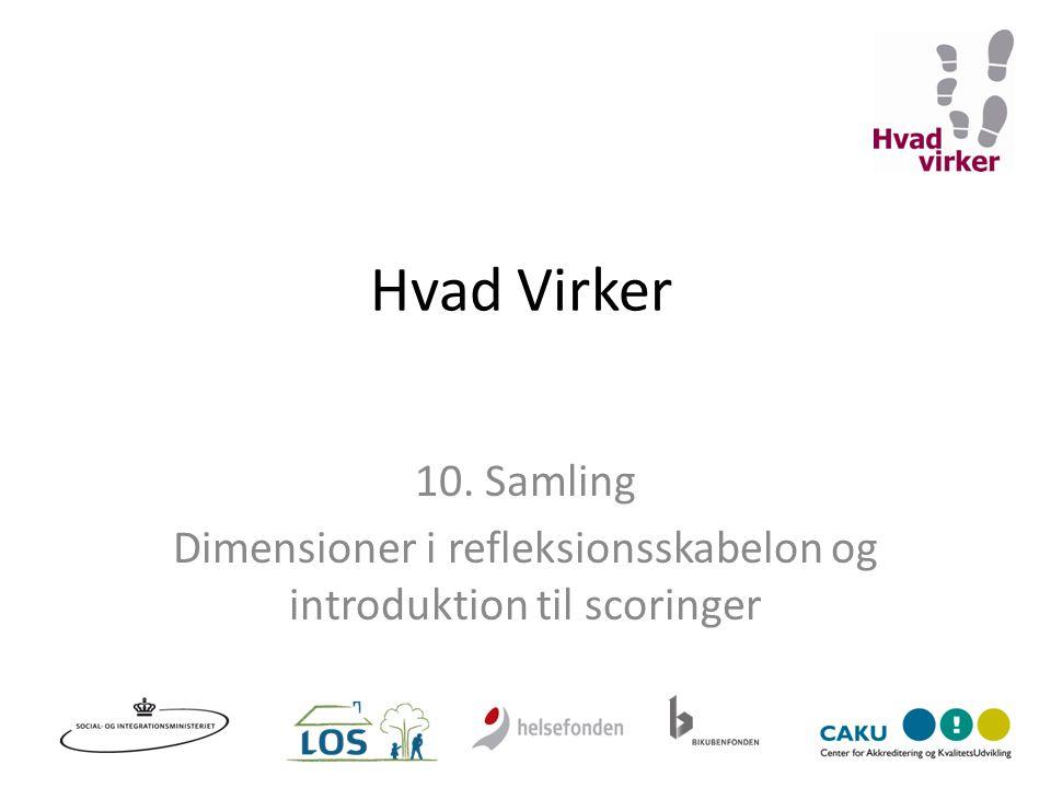 Dimensioner i refleksionsskabelon og introduktion til scoringer