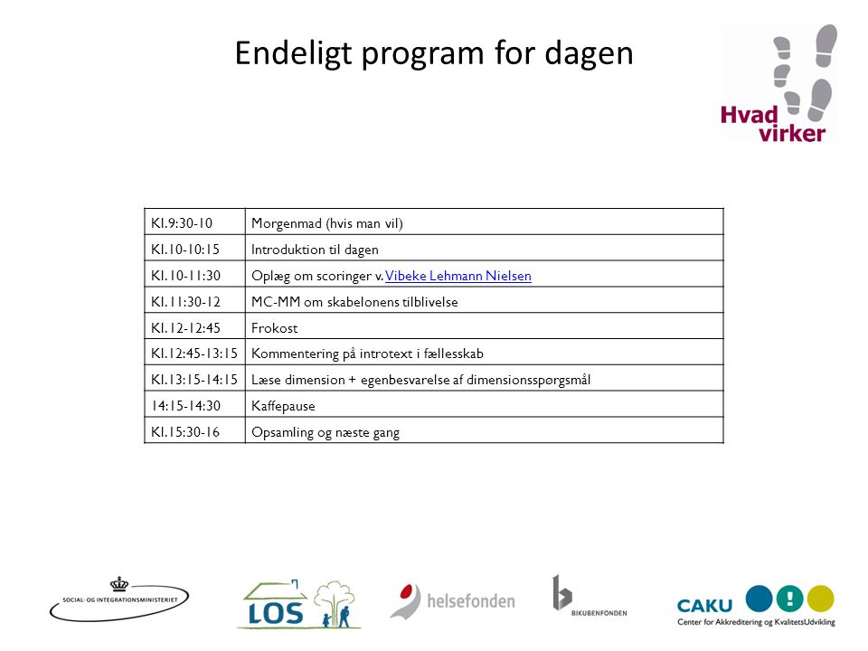 Endeligt program for dagen