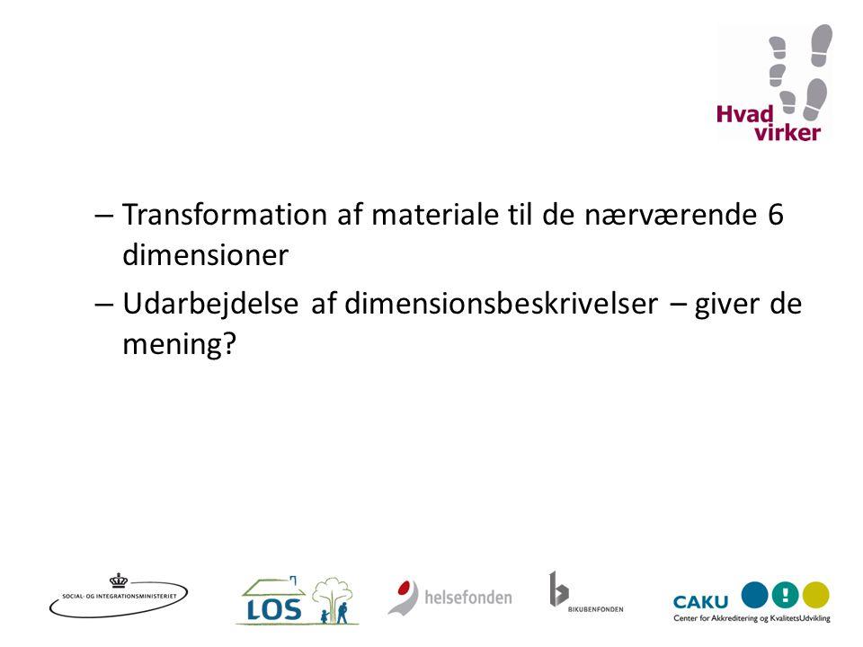 Transformation af materiale til de nærværende 6 dimensioner