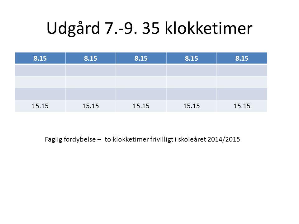 Faglig fordybelse – to klokketimer frivilligt i skoleåret 2014/2015