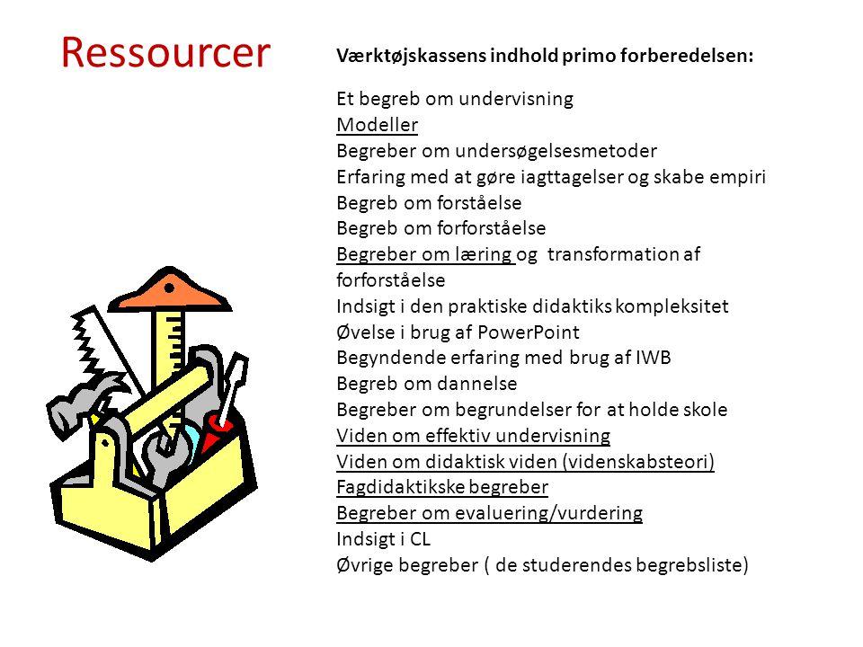 Ressourcer Værktøjskassens indhold primo forberedelsen: