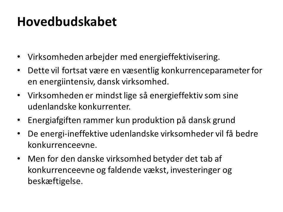 Hovedbudskabet Virksomheden arbejder med energieffektivisering.