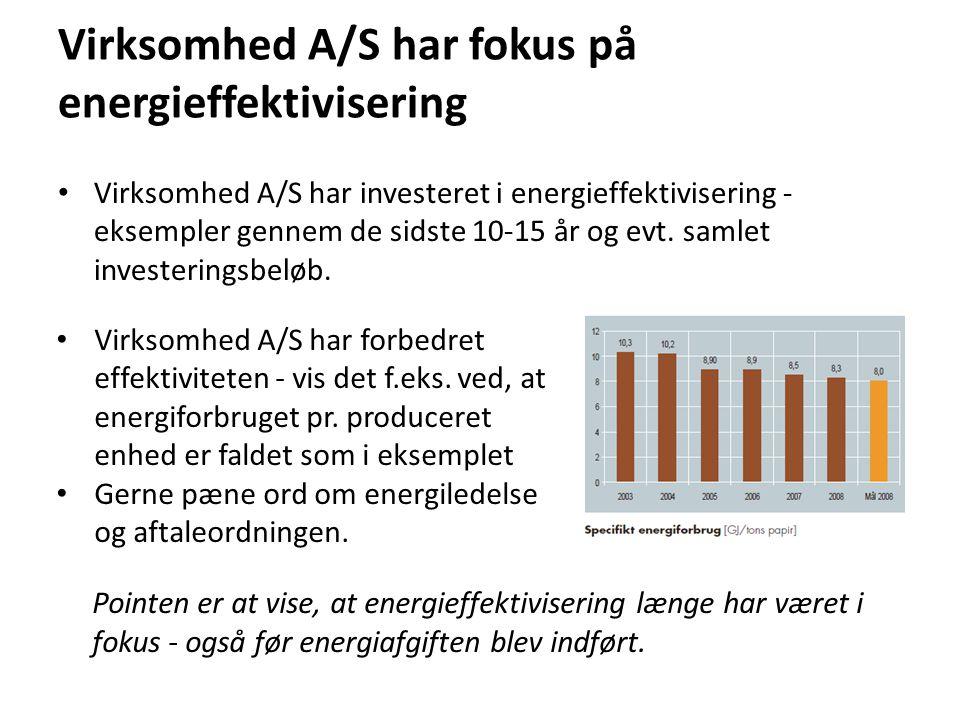 Virksomhed A/S har fokus på energieffektivisering