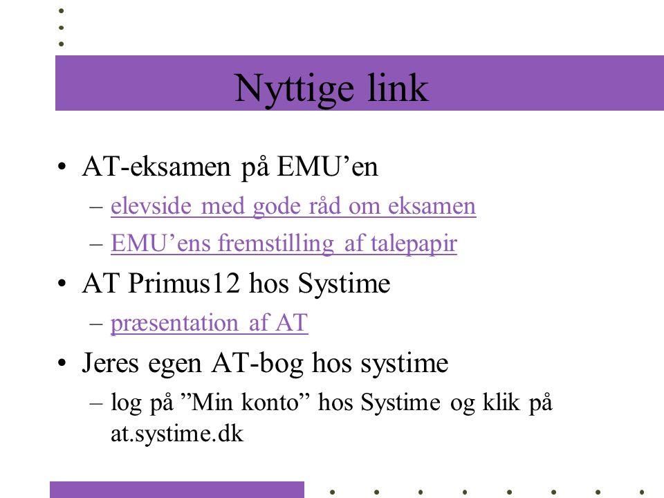 Nyttige link AT-eksamen på EMU'en AT Primus12 hos Systime