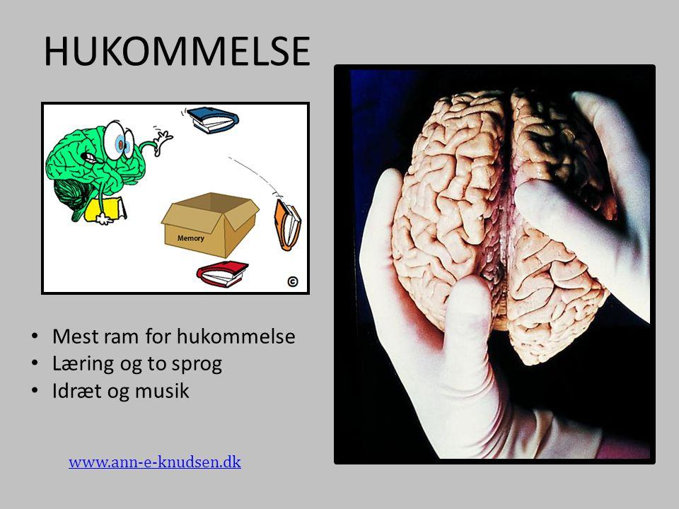 HUKOMMELSE Mest ram for hukommelse Læring og to sprog Idræt og musik