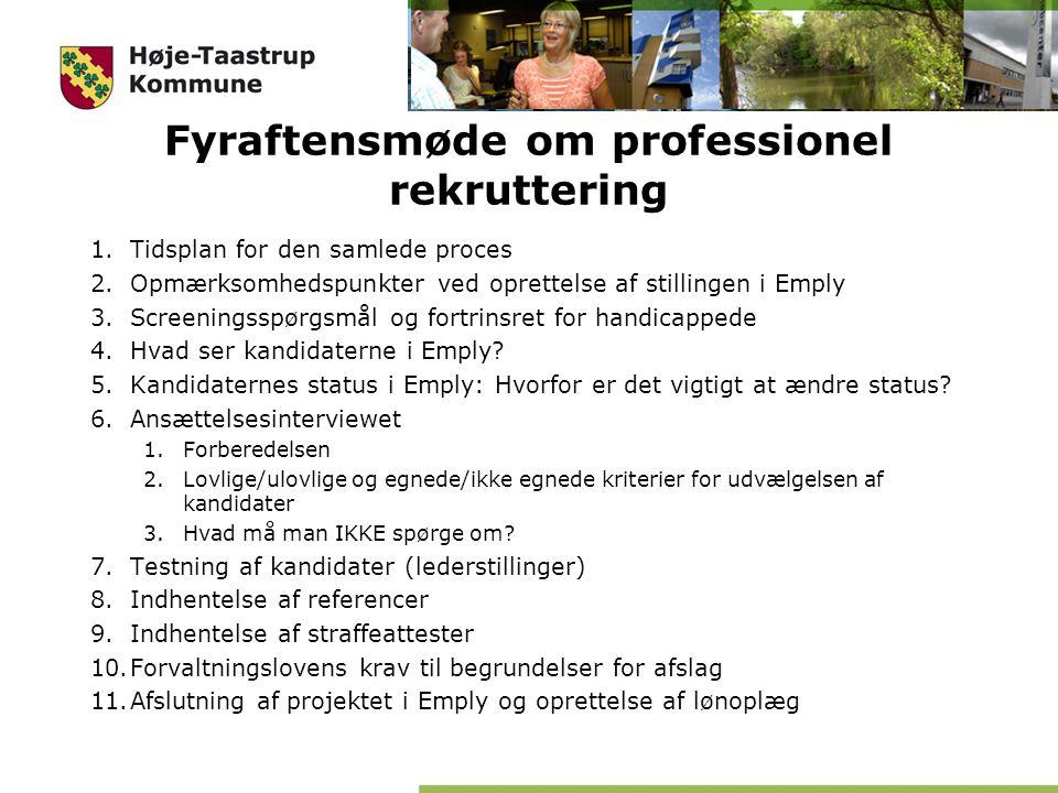 Fyraftensmøde om professionel rekruttering