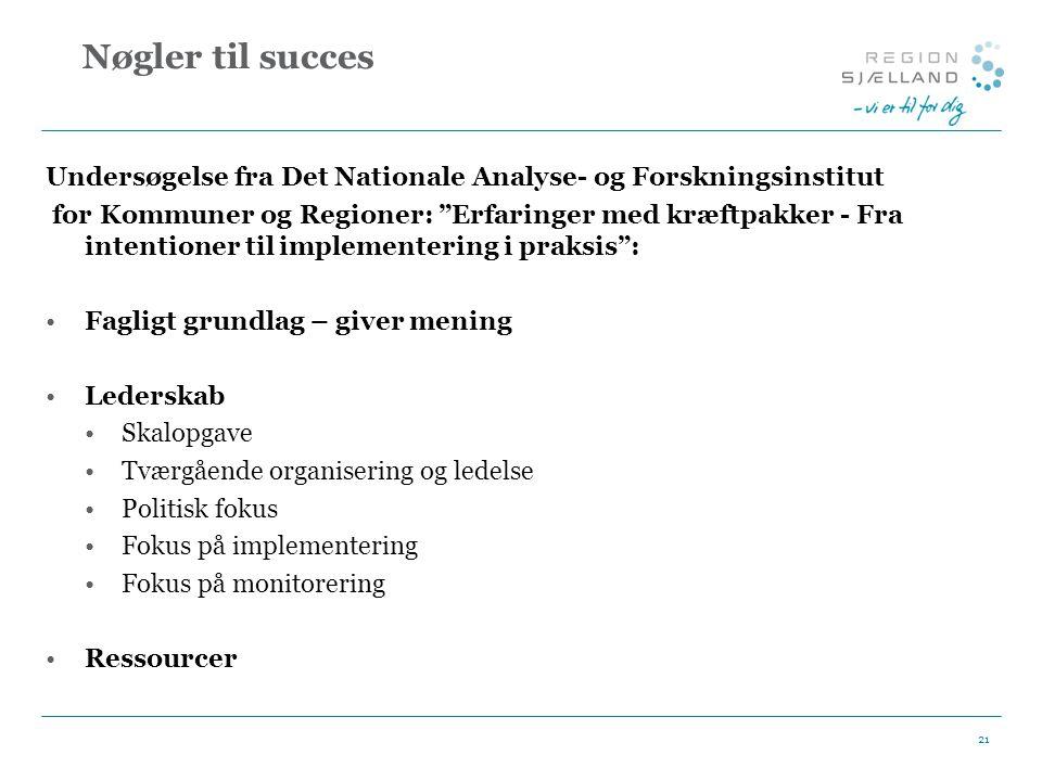 Nøgler til succes Undersøgelse fra Det Nationale Analyse- og Forskningsinstitut.
