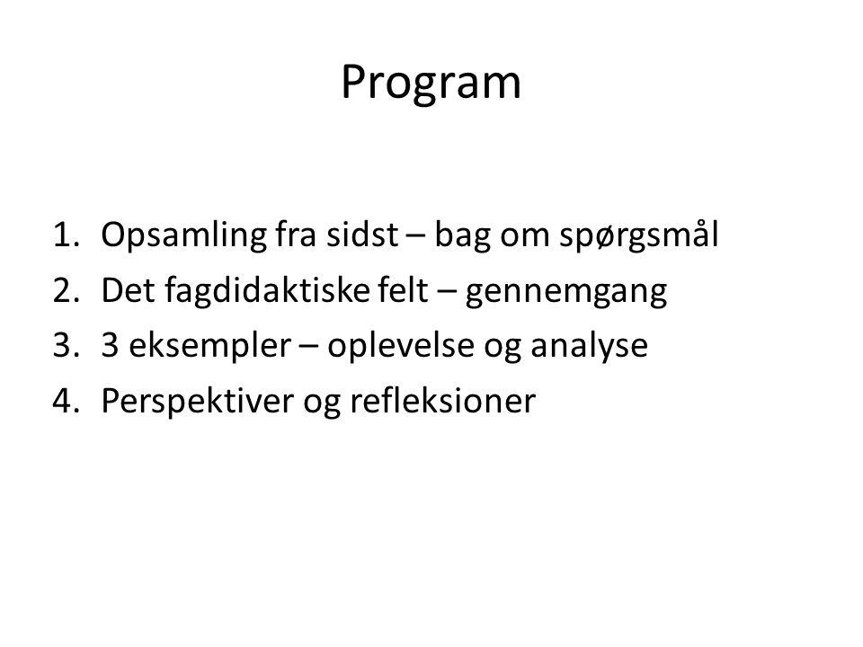 Program Opsamling fra sidst – bag om spørgsmål